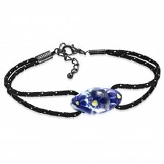 Náramok z čiernej šnúrky a oválnej FIMO korálky, modré kvety - Dĺžka: 190 mm