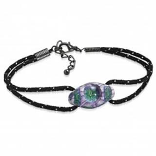 Náramok z čiernych šnúrok a oválnej FIMO korálky, fialovo-zelené kvety - Dĺžka: 180 mm