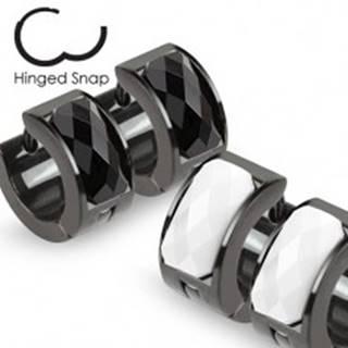 Náušnice čiernej farby s podlhovastým brúseným kamienkom - Farba: Biela