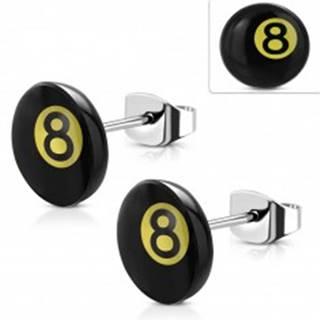 Náušnice z chirurgickej ocele, magická biliardová guľa číslo 8 - čierna a žltá farba