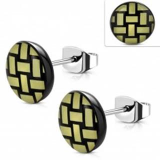 Náušnice z ocele 316L, akrylový kruh so žlto-čiernym pleteným vzorom, 10 mm