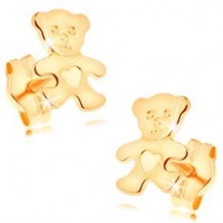 Náušnice zo žltého 14K zlata - ligotavý plochý medvedík so srdiečkom na brušku