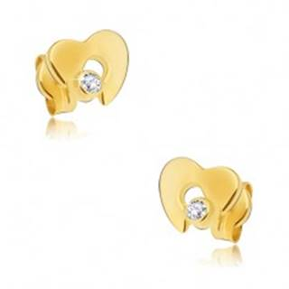 Náušnice zo žltého 14K zlata - ploché lesklé srdce s výrezom, zirkón