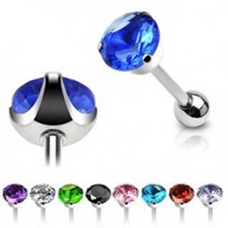 Oceľový piercing do jazyka - brúsený zirkón - Farba zirkónu: Aqua modrá - Q