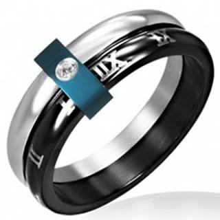 Oceľový prsteň - dvojitý s rímskymi číslicami - Veľkosť: 49 mm