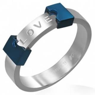 Oceľový prsteň LOVE - rozpoltené srdce - Veľkosť: 48 mm