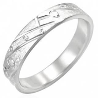 Oceľový prsteň - matný s gravírovaným vzorom - Veľkosť: 49 mm