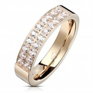 Oceľový prsteň medenej farby, línie čírych zirkónov, lesklý povrch, 5 mm - Veľkosť: 49 mm