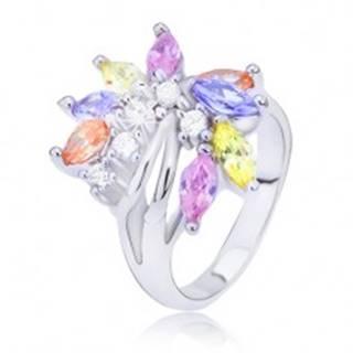 Oceľový prsteň s farebným zirkónovým vejárom - Veľkosť: 48 mm