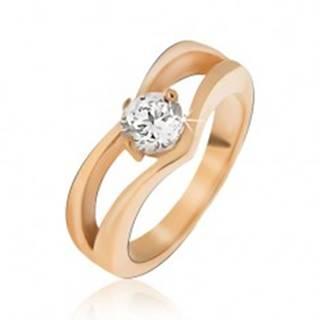 Oceľový prsteň zlatej farby, zdvojený špic, okrúhly číry kamienok - Veľkosť: 49 mm