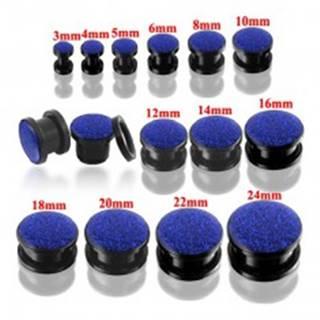 Okrúhly tunel plug čiernej farby s modrými glitrami - Hrúbka: 10 mm