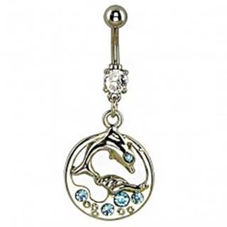 Piercing do brucha - delfín vo vlnách, modré kamienky