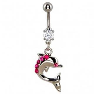 Piercing do brucha - skáčuci delfín, ružové zirkóny na chrbte
