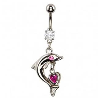 Piercing do pupka - delfín s ružovým okom, srdcový prívesok