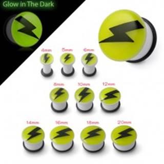 Plug do ucha svietiaci v tme - čierny blesk na žltom podklade - Hrúbka: 10 mm