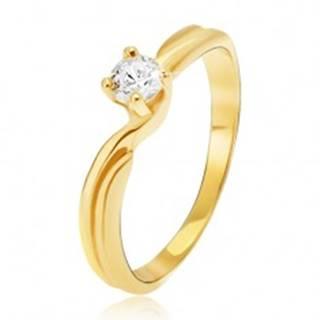 Prsteň v žltom 14K zlate - rozdvojené ramená, okrúhly kamienok v kotlíku - Veľkosť: 49 mm