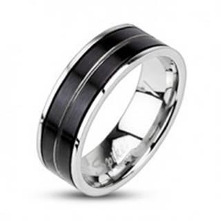 Prsteň z chirurgickej ocele - čierna farba, vygravírovaná línia - Veľkosť: 59 mm