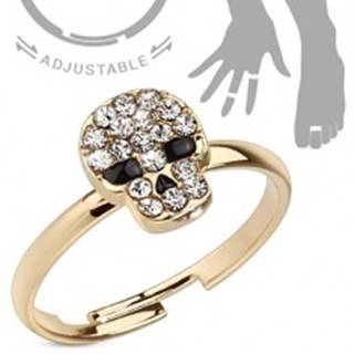 Prsteň zlatej farby na ruku a nohu, lebka - číre zirkóny, čierne oči a nos - Veľkosť: 51 mm
