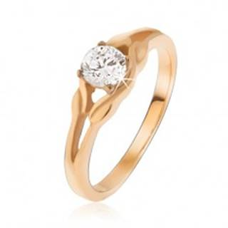 Prsteň zlatej farby z ocele, zirkón uprostred elipsy - Veľkosť: 49 mm