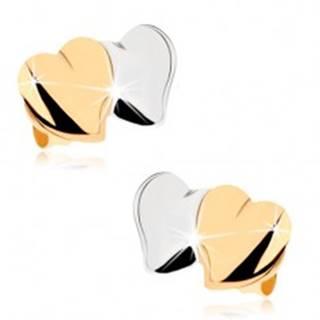 Puzetové náušnice z 9K zlata - lesklé vypuklé srdiečka, dvojfarebné