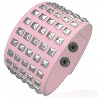 Ružový koženkový náramok - kovové pyramídy