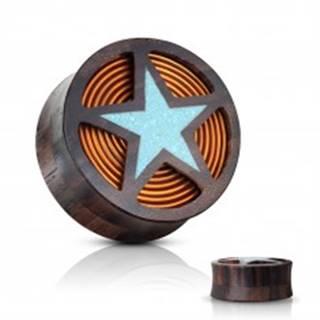 Sedlový plug do ucha z dreva Sono hnedočiernej farby, modrá hviezda, cievka - Hrúbka: 10 mm