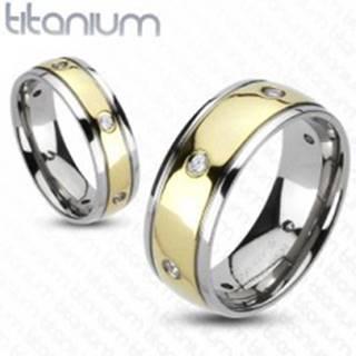 Titánový prsteň so zirkónmi, dvojfarebný - Veľkosť: 49 mm