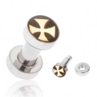 Tunel plug do ucha z chirurgickej ocele, žltý maltézsky kríž