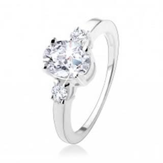 Zásnubný prsteň s tromi trblietavými zirkónmi, striebro 925 - Veľkosť: 50 mm