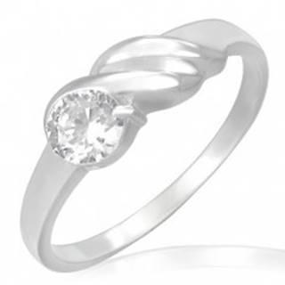 Zásnubný prsteň z ocele - trblietavý zirkón, vlnky - Veľkosť: 49 mm