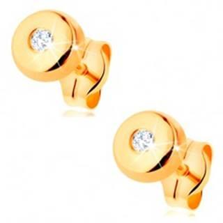 Zlaté náušnice 585 - malý lesklý kruh s čírym zirkónikom uprostred