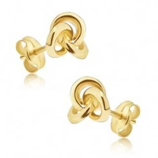 Zlaté náušnice 585 - zrkadlovolesklý uzol z troch obručí