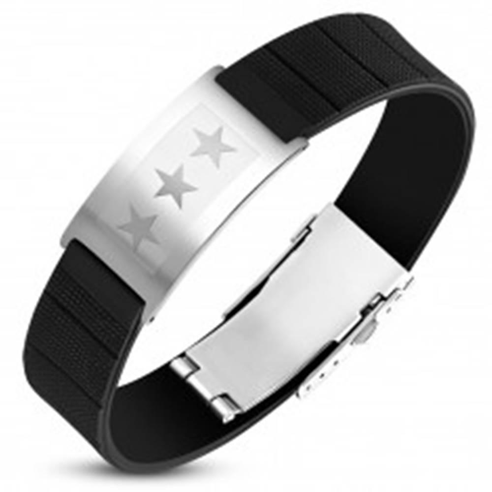 Šperky eshop Čierny gumený náramok s oceľovou známkou striebornej farby, tri hviezdy