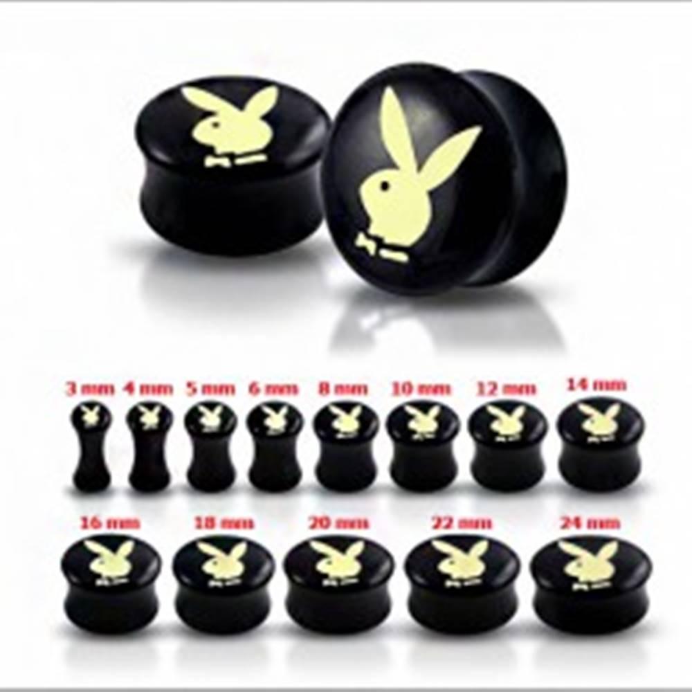 Šperky eshop Čierny sedlový plug do ucha s maslovo-žltým zajacom - Hrúbka: 10 mm