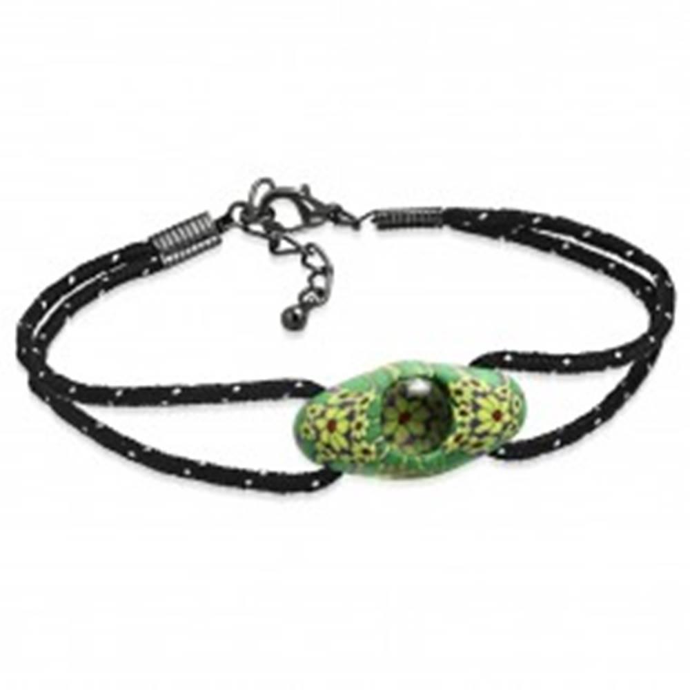 Šperky eshop Čierny šnúrkový náramok, zelená oválna FIMO korálka, žlté kvety - Dĺžka: 180 mm
