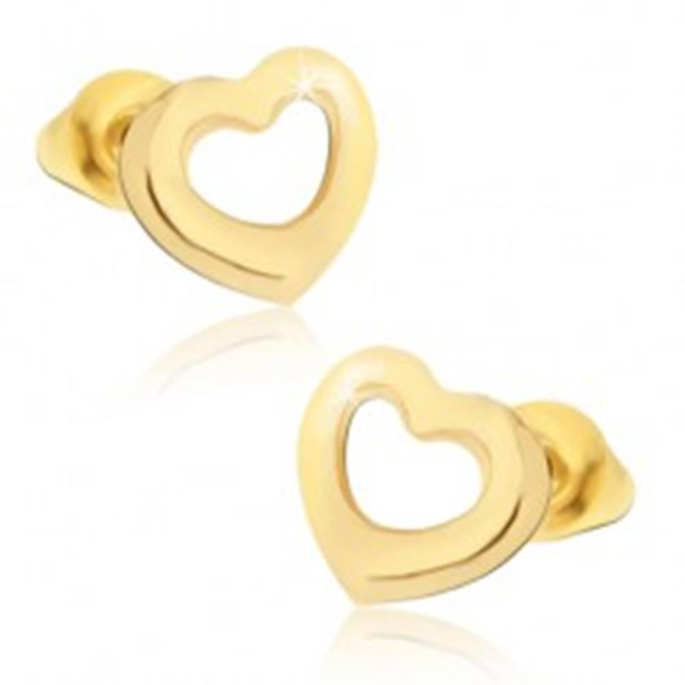 Šperky eshop Lesklé náušnice zlatej farby, kontúry súmerných sŕdc