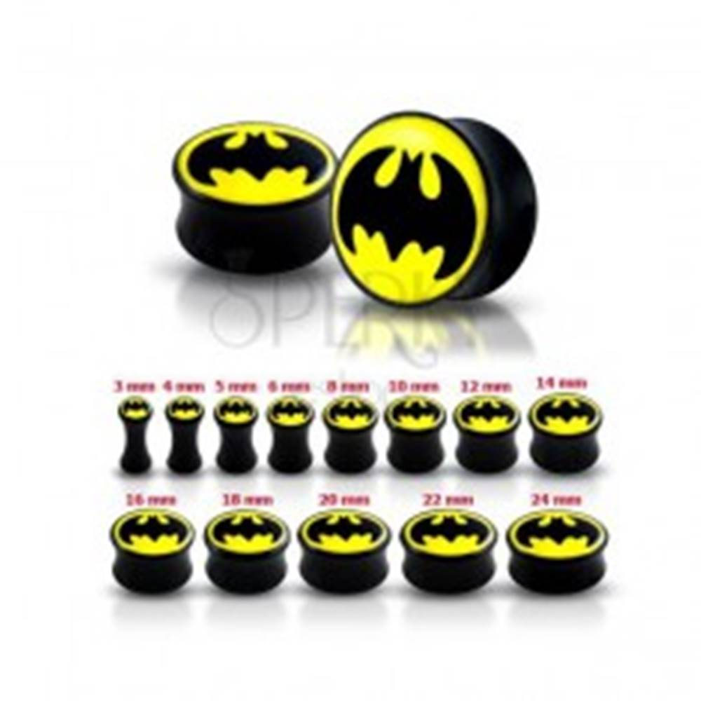 Šperky eshop Lesklý čierny plug do ucha - Batman - Hrúbka: 12 mm
