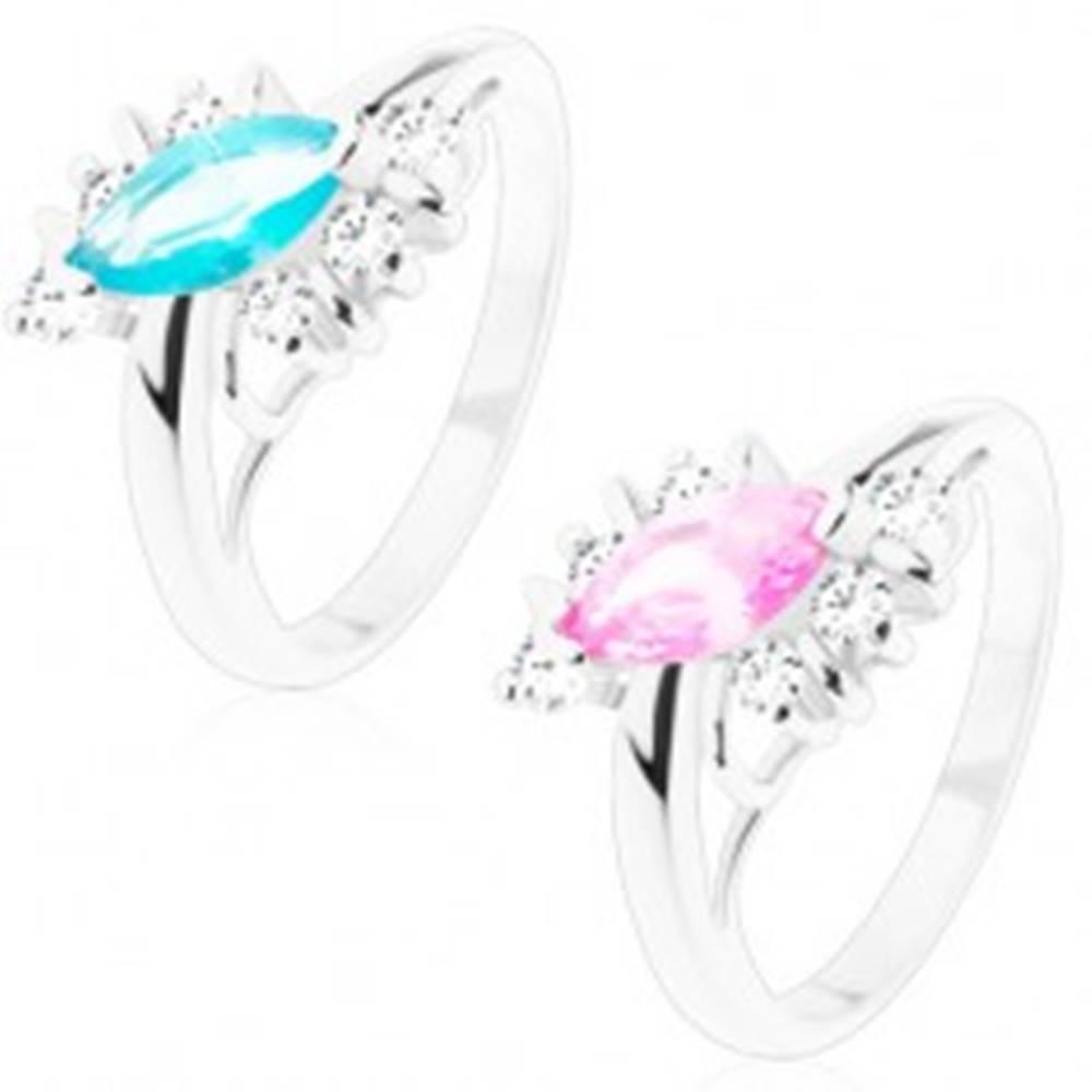 Šperky eshop Lesklý prsteň s hladkým povrchom, zirkónové zrno, číre zirkóny, oblúčiky - Veľkosť: 51 mm, Farba: Ružová