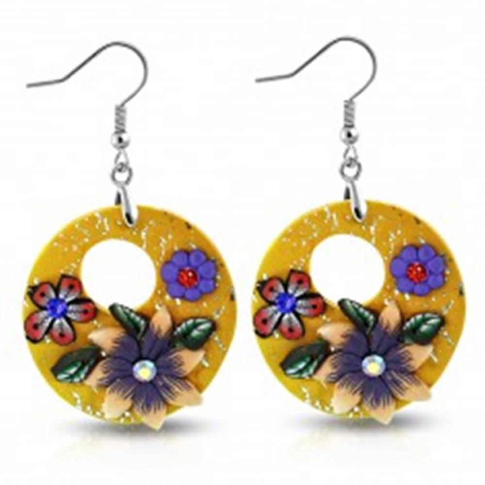 Šperky eshop Náušnice FIMO, visiace oranžové kruhy s kvetmi a okrúhlym výrezom