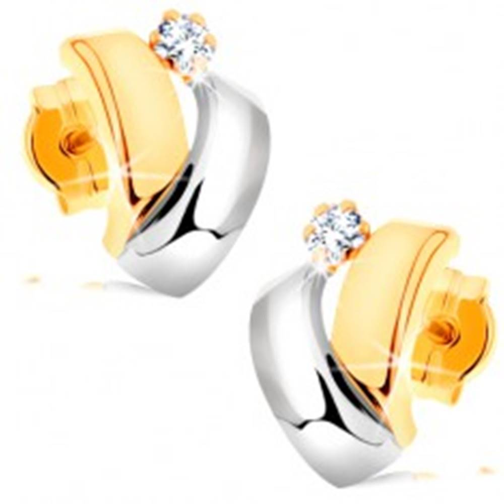 Šperky eshop Náušnice v kombinovanom 14K zlate - dvojfarebné oblúčiky, okrúhly zirkónik