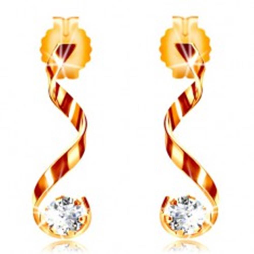 Šperky eshop Náušnice v žltom 14K zlate - lesklá zvlnená línia, číry zirkón
