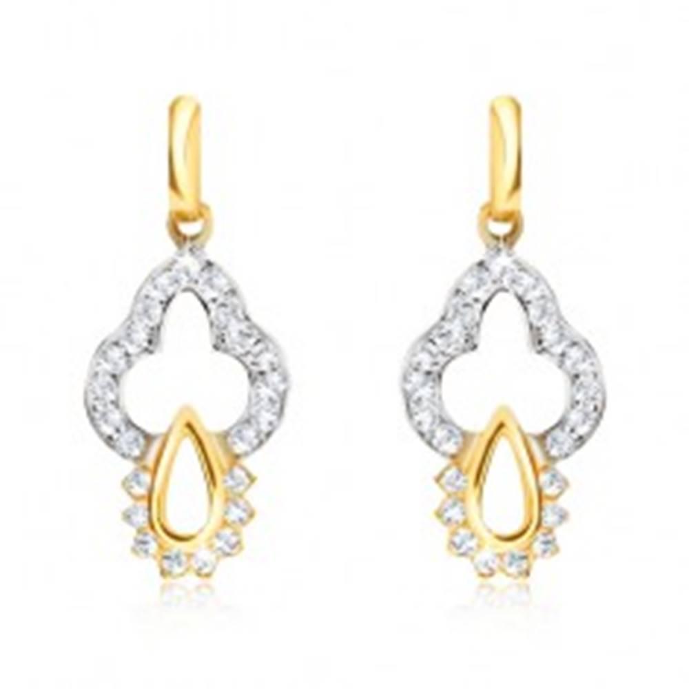 Šperky eshop Náušnice v kombinovanom 14K zlate - ozdobne vyrezávaný obrys, zirkóny