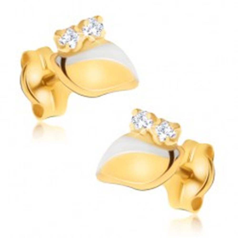 Šperky eshop Náušnice v kombinovanom 14K zlate - zvlnený lístoček, dva číre kamienky