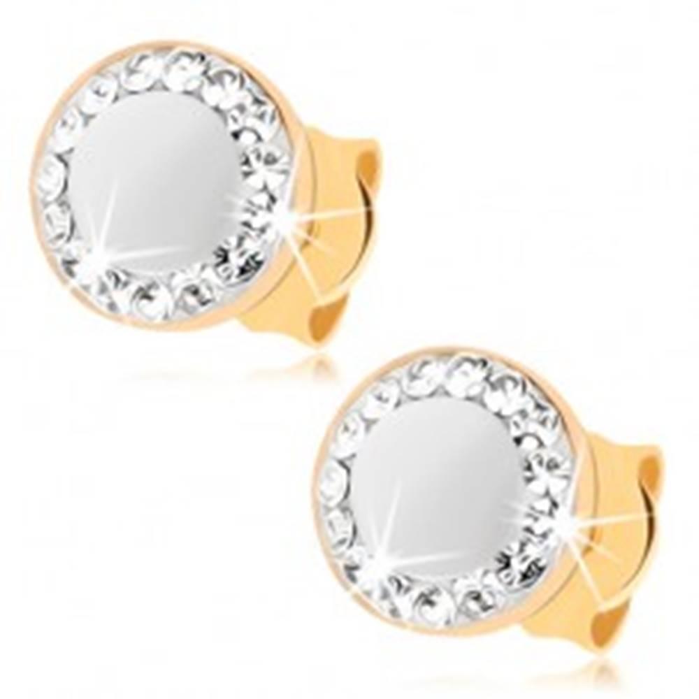 Šperky eshop Náušnice v žltom 9K zlate - perleťový kruh, obrys zo Swarovského krištáľov