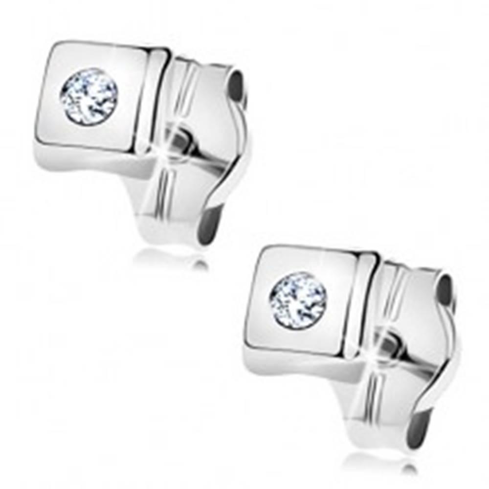 Šperky eshop Náušnice z bieleho 14K zlata - lesklé štvorčeky, zirkóny čírej farby