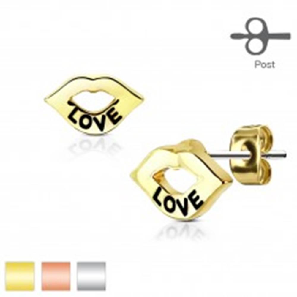 Šperky eshop Náušnice z chirurgickej ocele, lesklé pery s nápisom LOVE, puzetky - Farba: Medená