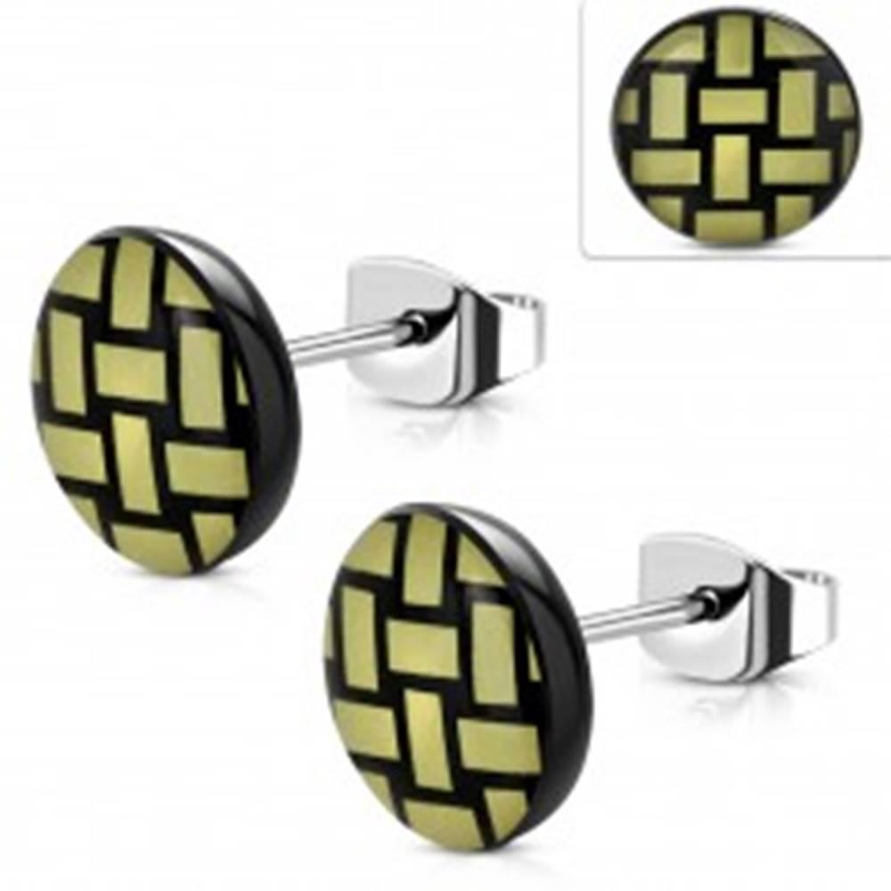 Šperky eshop Náušnice z ocele 316L, akrylový kruh so žlto-čiernym pleteným vzorom, 10 mm