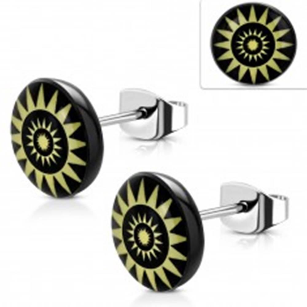 Šperky eshop Náušnice z ocele 316L, žlté slnečné kruhy na čiernom podklade