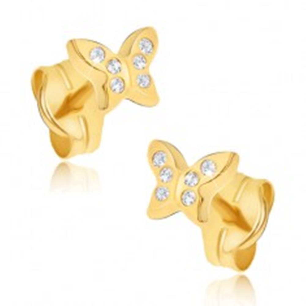 Šperky eshop Náušnice zo žltého 14K zlata - maličké zirkónové motýle