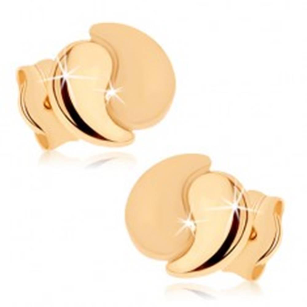 Šperky eshop Náušnice zo žltého 9K zlata - dve zahnuté slzičky, lesklá a matná